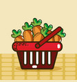 basket with carrots super market products vector image vector image