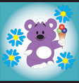 bear cub keeps ice cream in his paw vector image