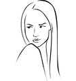 Beautiful young woman look to the left - black vector image vector image