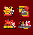 best offer discounts and sale of shops banners set vector image vector image