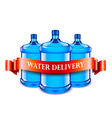 Big bottles and red ribbon water delivery concept vector image