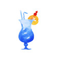 blue hawaii cocktail colorful hand drawn vector image