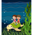 Boy and girl riding on turtle underwater vector image vector image