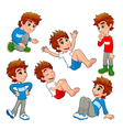 Boy in different poses and expressions vector image vector image