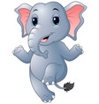 cartoon elephant dancing vector image vector image
