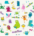 cartoon monsters seamless pattern vector image vector image