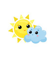 cartoon yellow sun and blue cloud with kawaii vector image