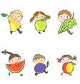 children and fruits vector image