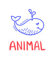 colorful doodle whale in trendy style little vector image vector image