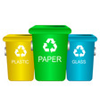 colorful trash containers recycling waste sorting vector image
