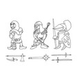 coloring page of cartoon three medieval knights vector image vector image