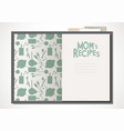 cookbook with moms recipes vector image vector image