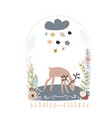 creative deer in jar with floral wreath childish vector image