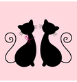 Cute Cats couple sitting together - silhouette vector image