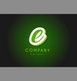 e alphabet letter logo green 3d company icon vector image vector image