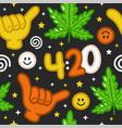 funny weed marijuana shaka gesture420 seamless vector image vector image