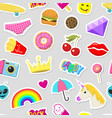 girl fashion stickers patches cute colorful badges vector image vector image