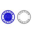 grunge caution textured stamp seals vector image vector image
