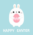 happy easter rabbit bunny holding painting egg vector image vector image