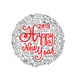 happy new year 2019 doodle greeting card vector image