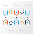 job colorful outline icons set collection of bank vector image vector image