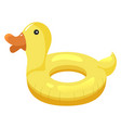 kids swimming ring yellow rubber duck vector image