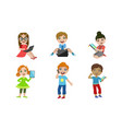 kids with gadgets set smiling boys and girls vector image vector image