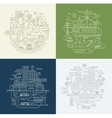 Line Design Compositions Set - City Lifestyle vector image