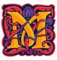 m letter colorful antique gothic initial logo