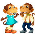 male and female monkey character vector image