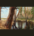 morning in pine forest realistic painting vector image
