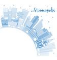 outline minneapolis minnesota skyline with blue vector image vector image