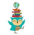owl with stack books vector image vector image