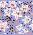 pink lily on blue background pattern vector image vector image