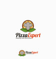 pizza expert logo template vector image vector image
