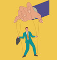 puppet master controlling a businessman vector image