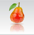 red pear with leaf polygonal 3d vector image vector image