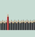 red pencil standing front of black crowd vector image