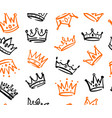 seamless pattern with various doodle crowns vector image vector image