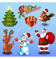 Set of design elements Christmas tree gift bullfin vector image vector image