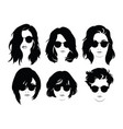 set of hairstyles for women with glasses vector image