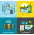 Square Datacenter Icon Set vector image vector image
