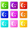 starry night icons 9 set vector image vector image