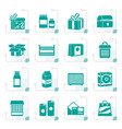 stylized different kind of package icons vector image vector image