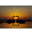 two lovers swans at sunset or sunrise vector image vector image