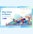 web page design template shows family rest with vector image vector image