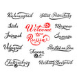 welcome to russia lettering design tourist cities vector image vector image