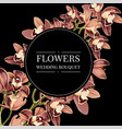 with orchids round black background vector image vector image