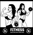 womans fitness showing muscles - female fitness vector image vector image