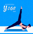 yoga day card woman in meditation pose vector image vector image
